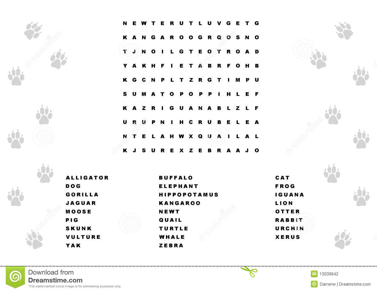 Animal Word Search Stock Photography