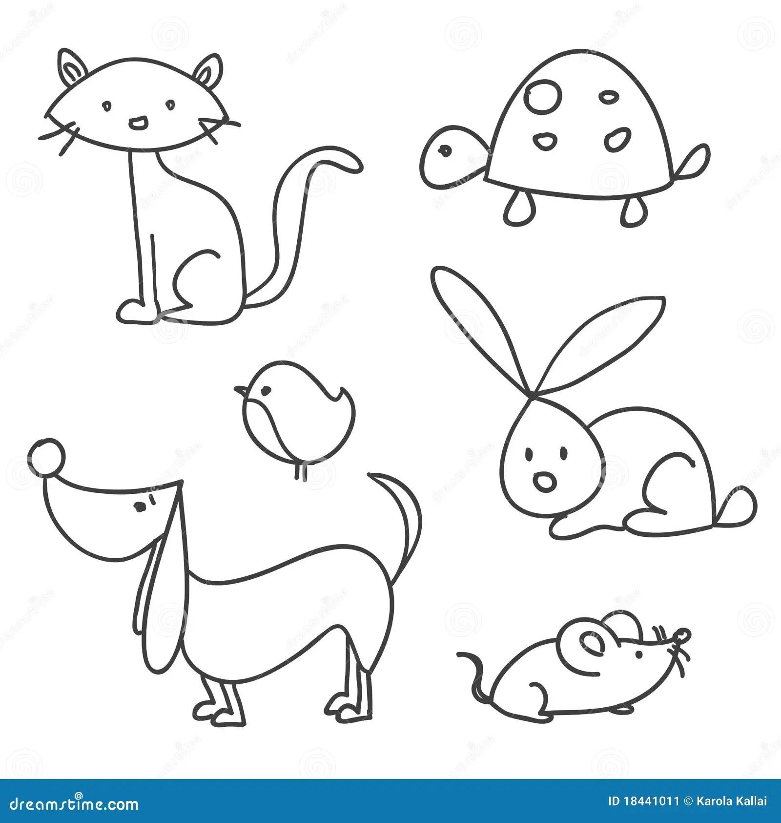 Animali Domestici Disegnati A Mano Del Fumetto Immagine