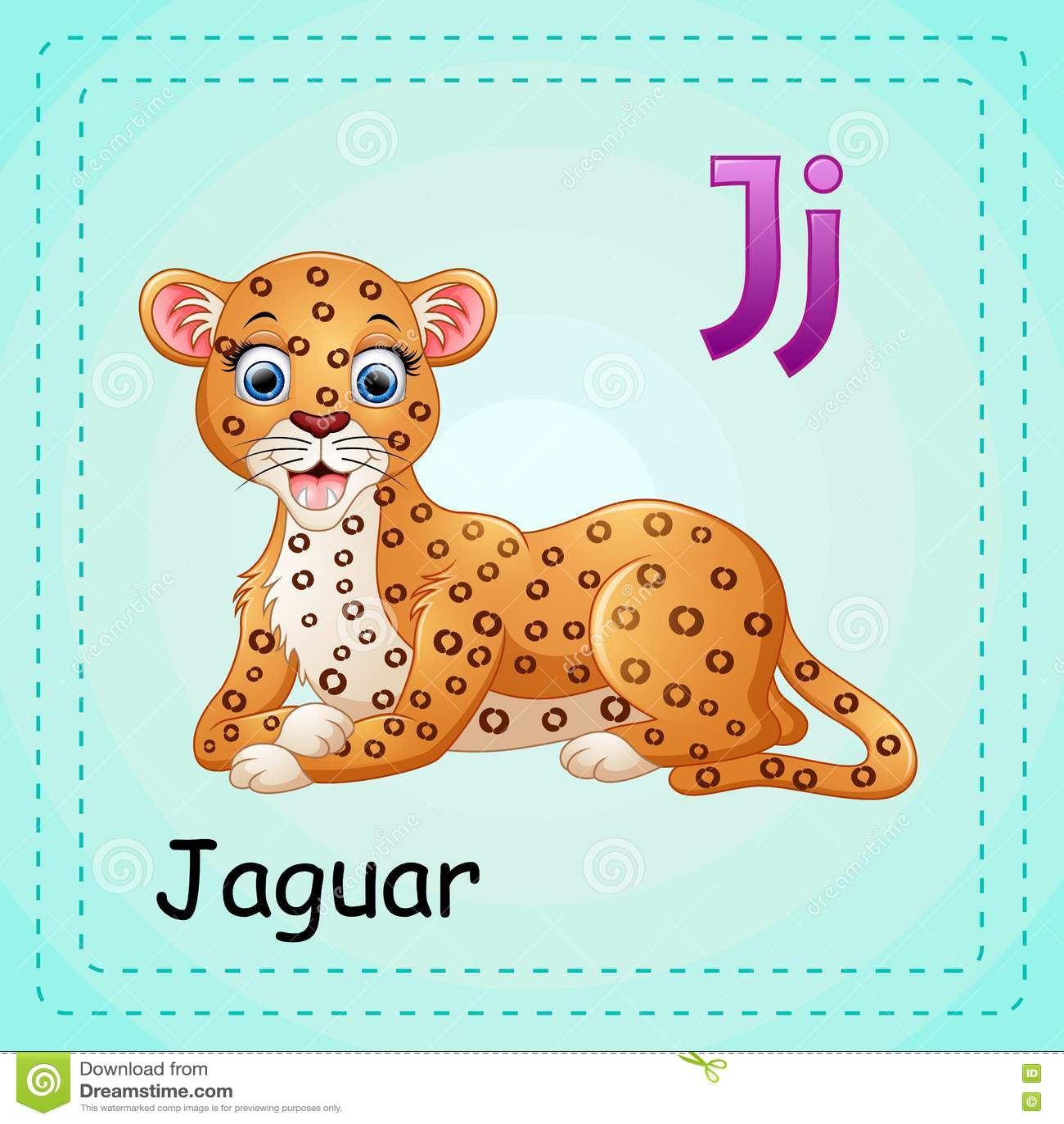 Animals Alphabet J Is For Jaguar Stock Vector
