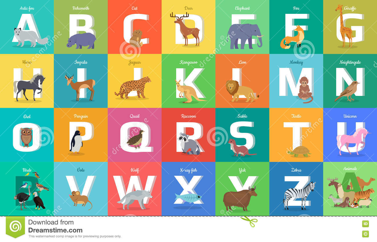 Animals Alphabet Letter From A To Z Stock Vector
