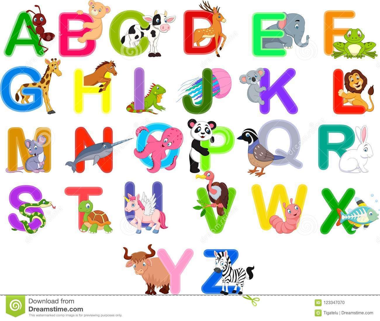 Alphabet Letter C Cow D Deer Vector Illustration