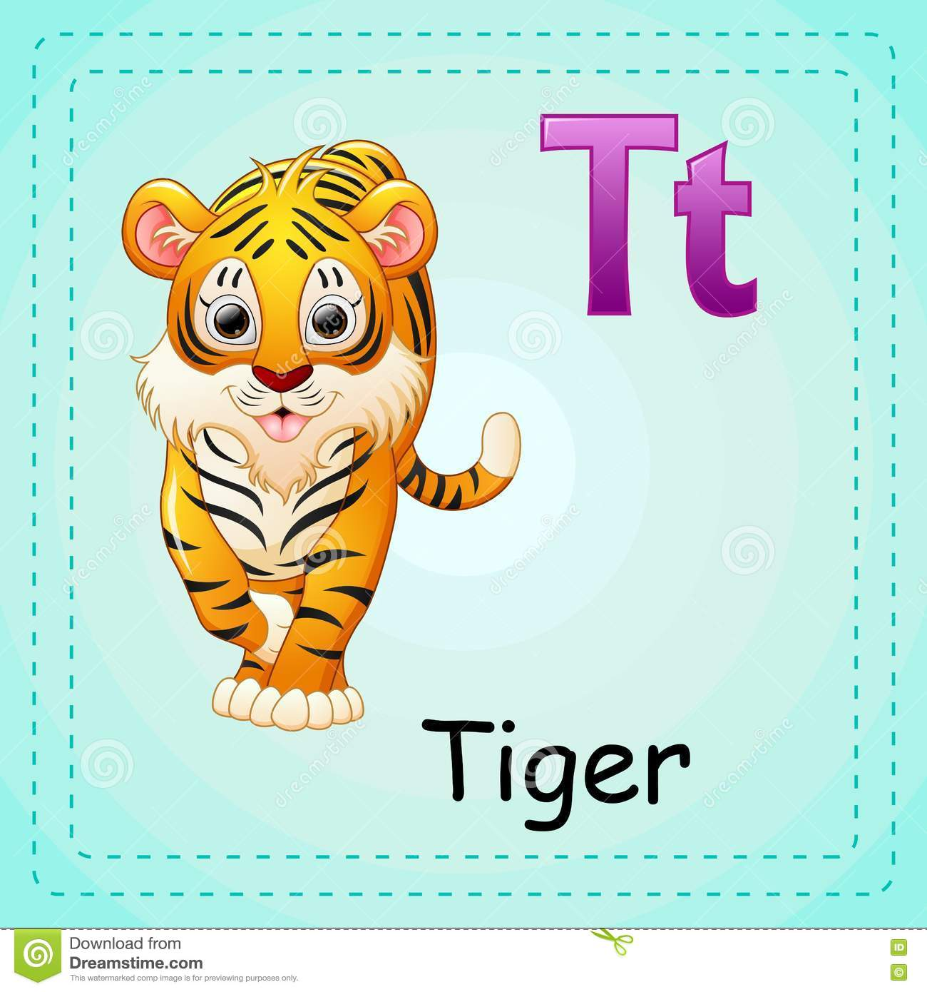 Animals Alphabet T Is For Tiger Stock Vector