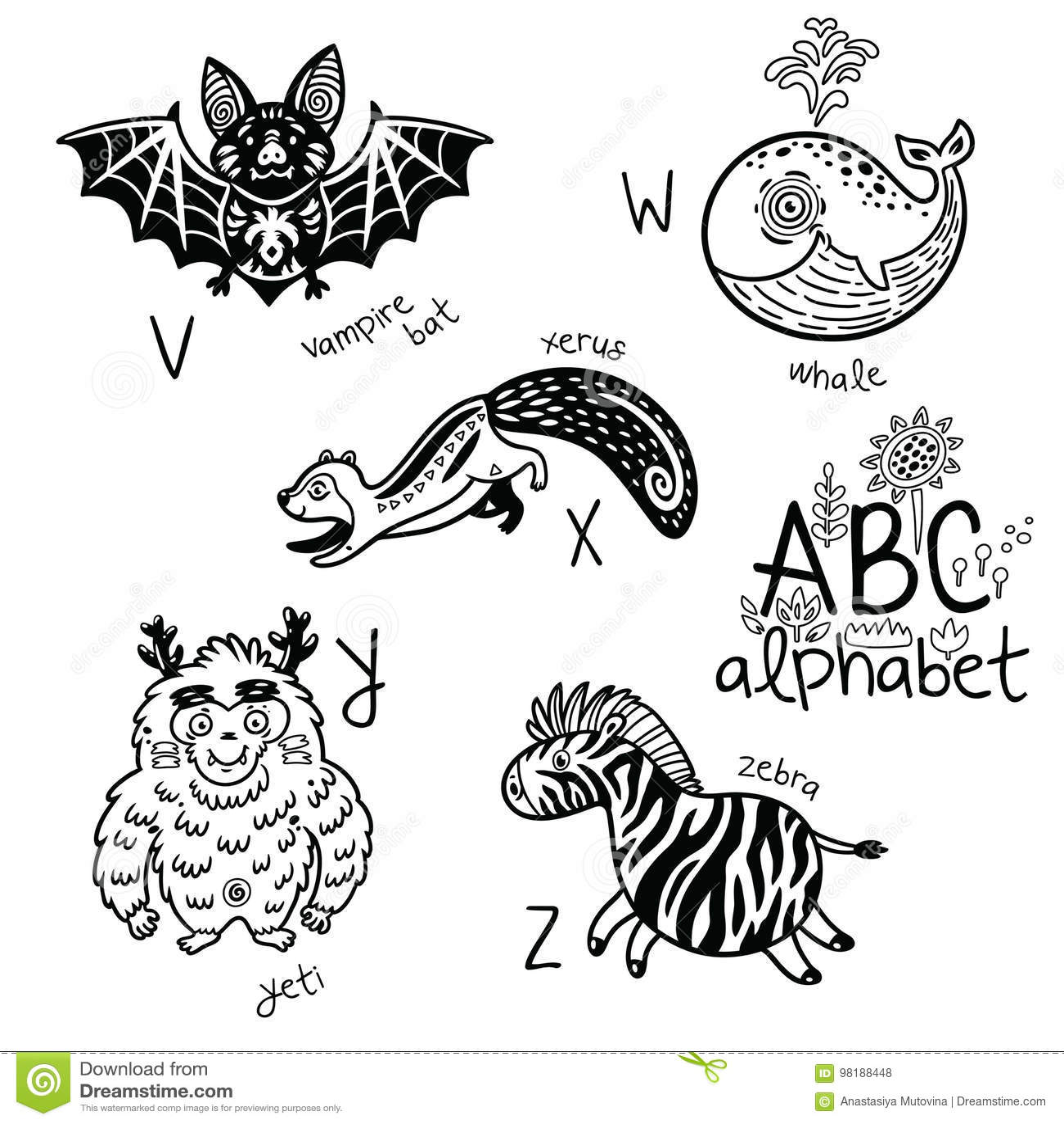Zebra, Letter Z Coloring Page Cartoon Vector