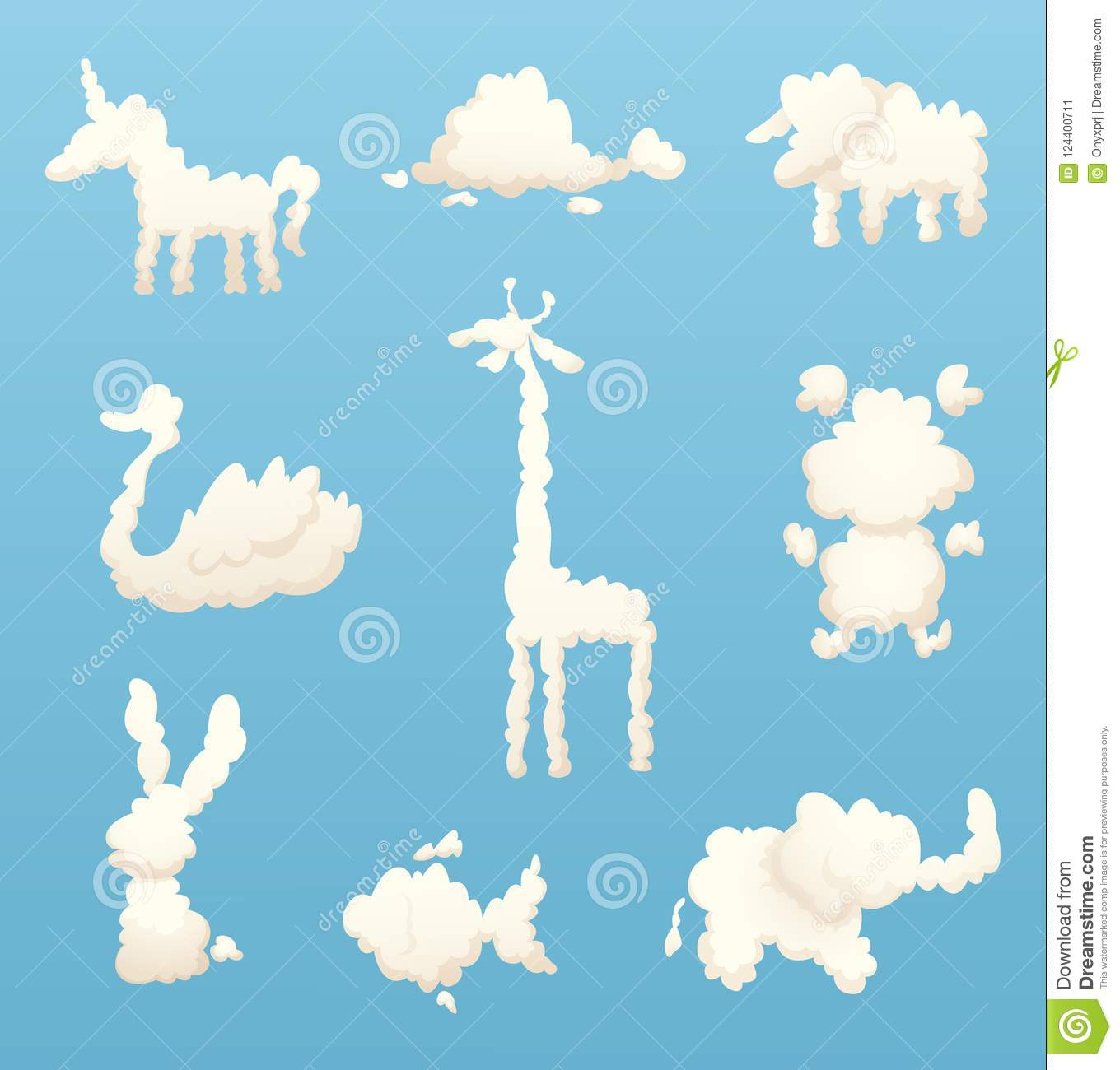 Animals From Clouds Various Shapes Of Cartoon Clouds