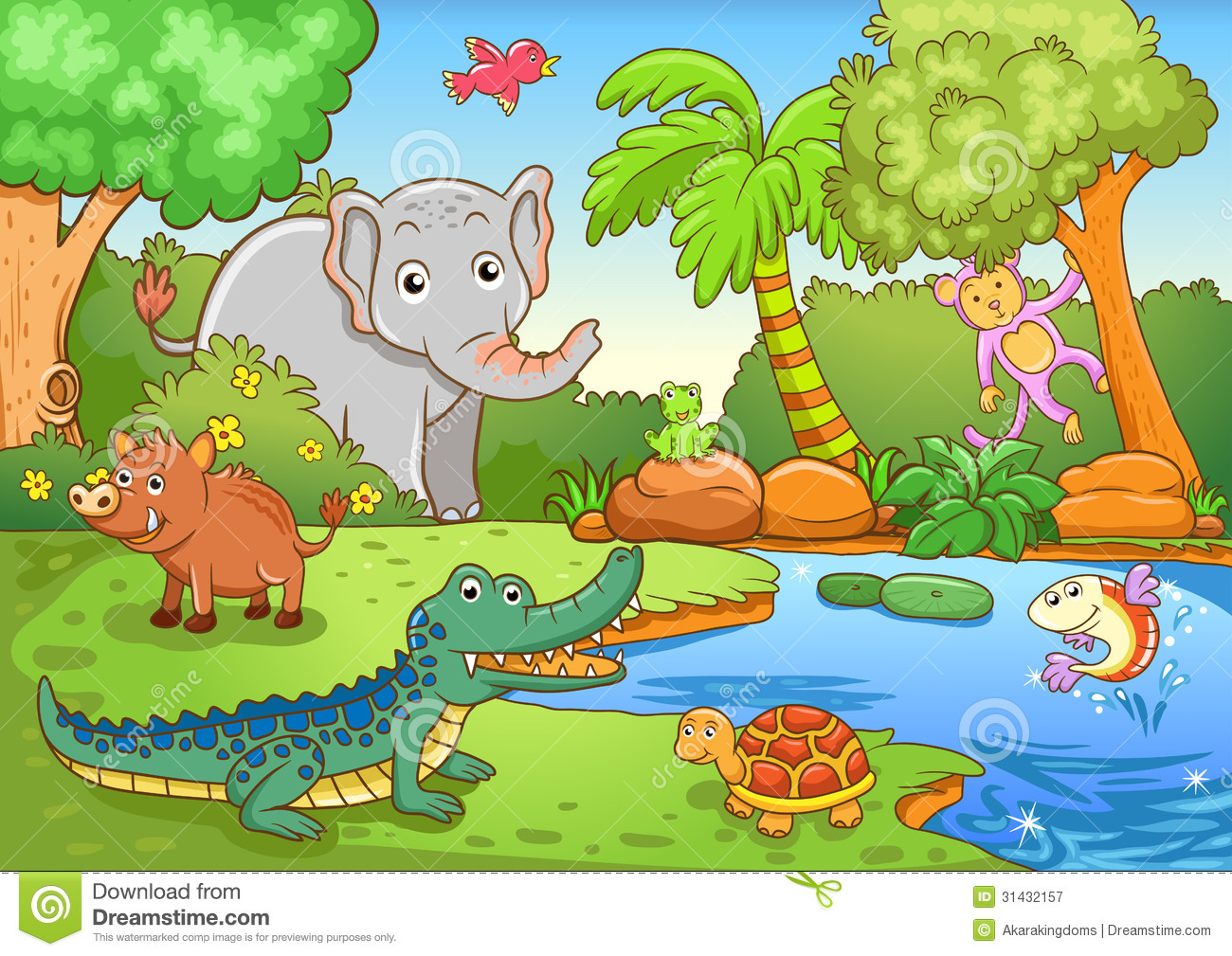 Animals In Forest Stock Vector Illustration Of
