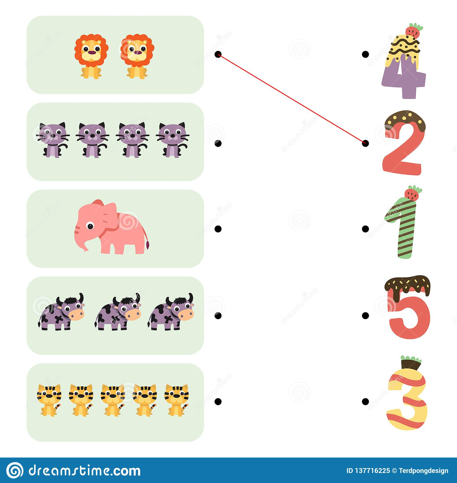 Animals Game Worksheet Design Stock Illustration