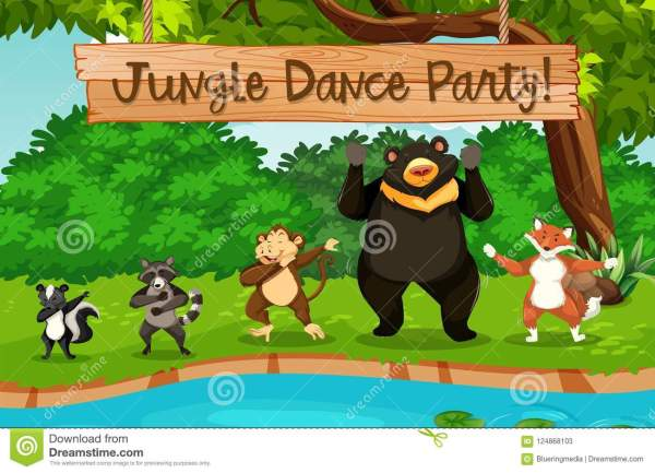 Animals And Jungle Dance Party Stock Vector - Illustration