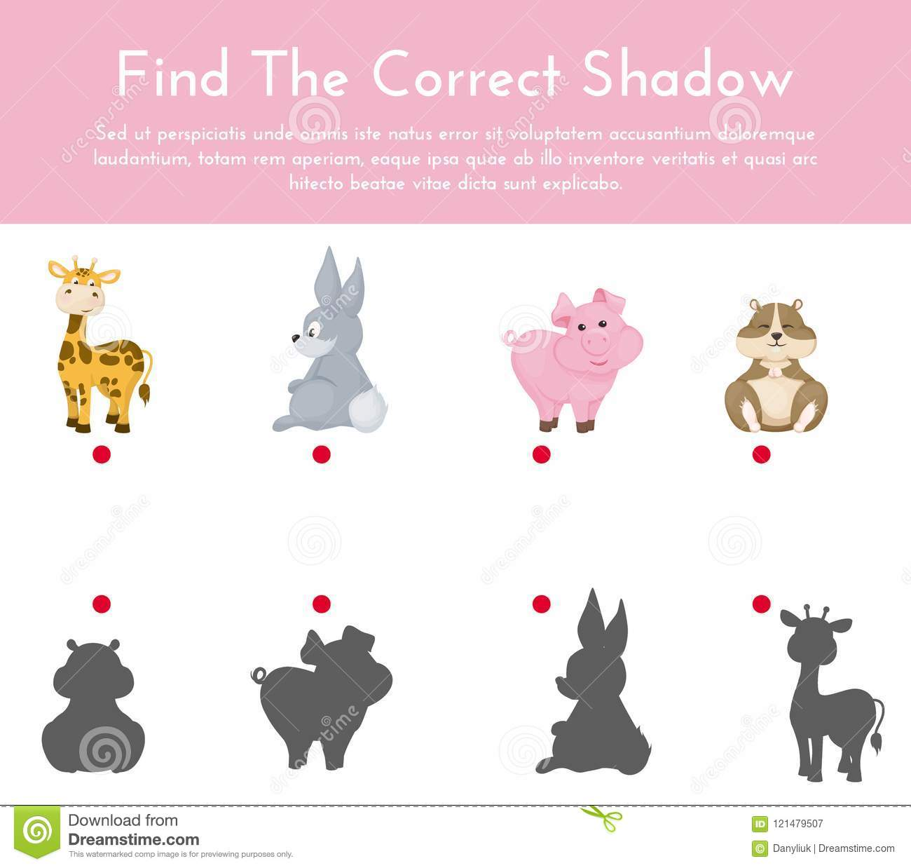 Animals And Their Shapes Shadow Matching Game Vector