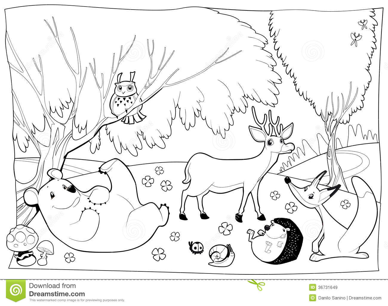 Animals In The Wood Black And White Stock Vector