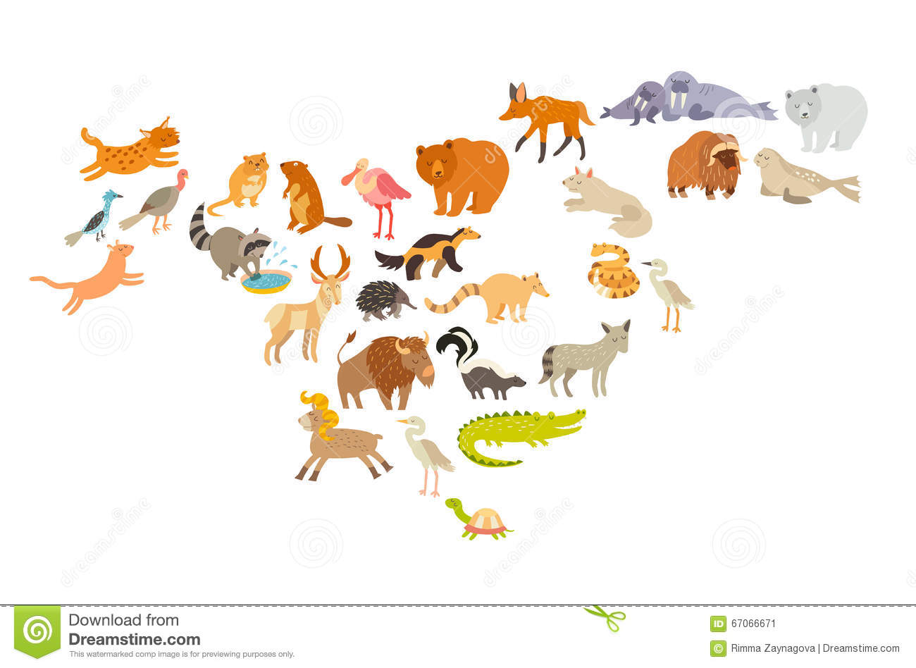 Animals World Map North America Colorful Cartoon Vector