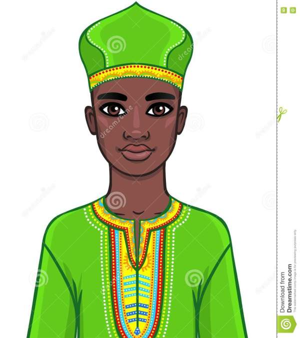 Animation Portrait Of African Man In Bright Clothes. Stock Vector - 75578571