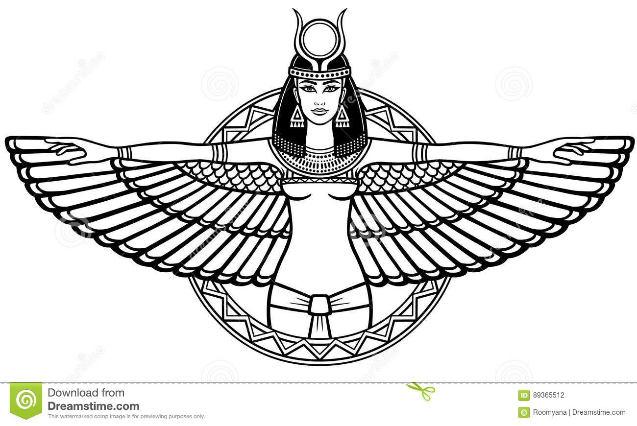 Animation Portrait Of The Ancient Egyptian Winged Goddess
