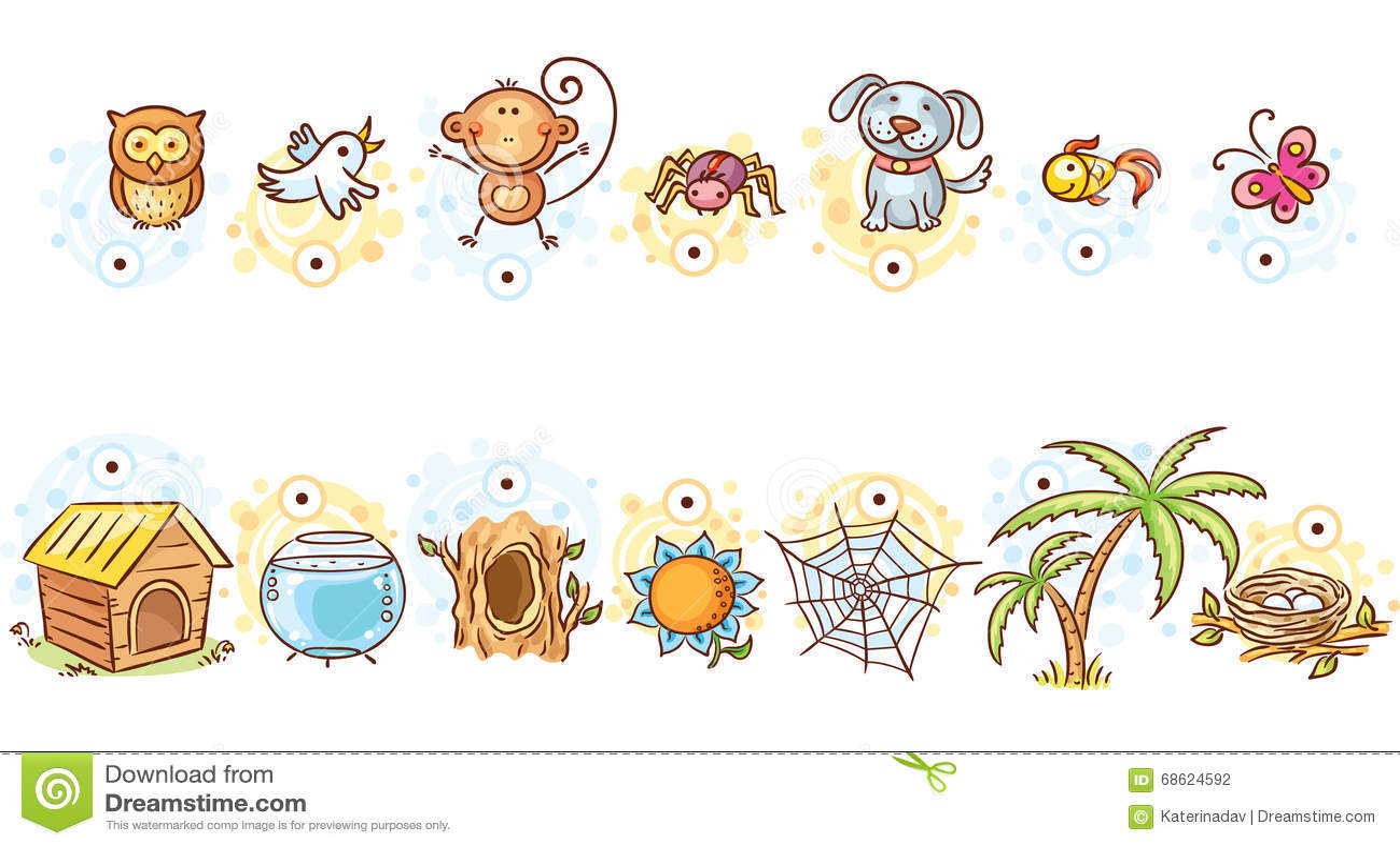 Animaux Et Leur Jeu D Assortiment De Maisons Illustration