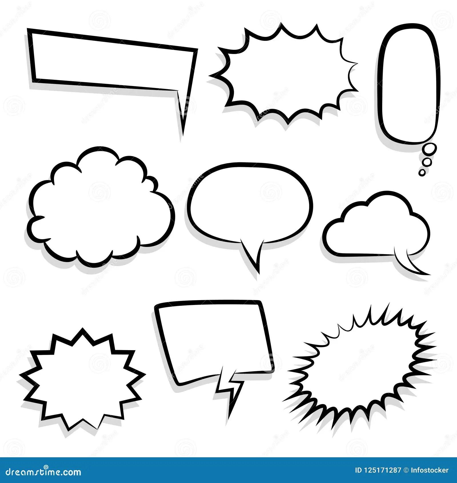 Big Set Empty Speech Bubble Comic Text Stock Vector