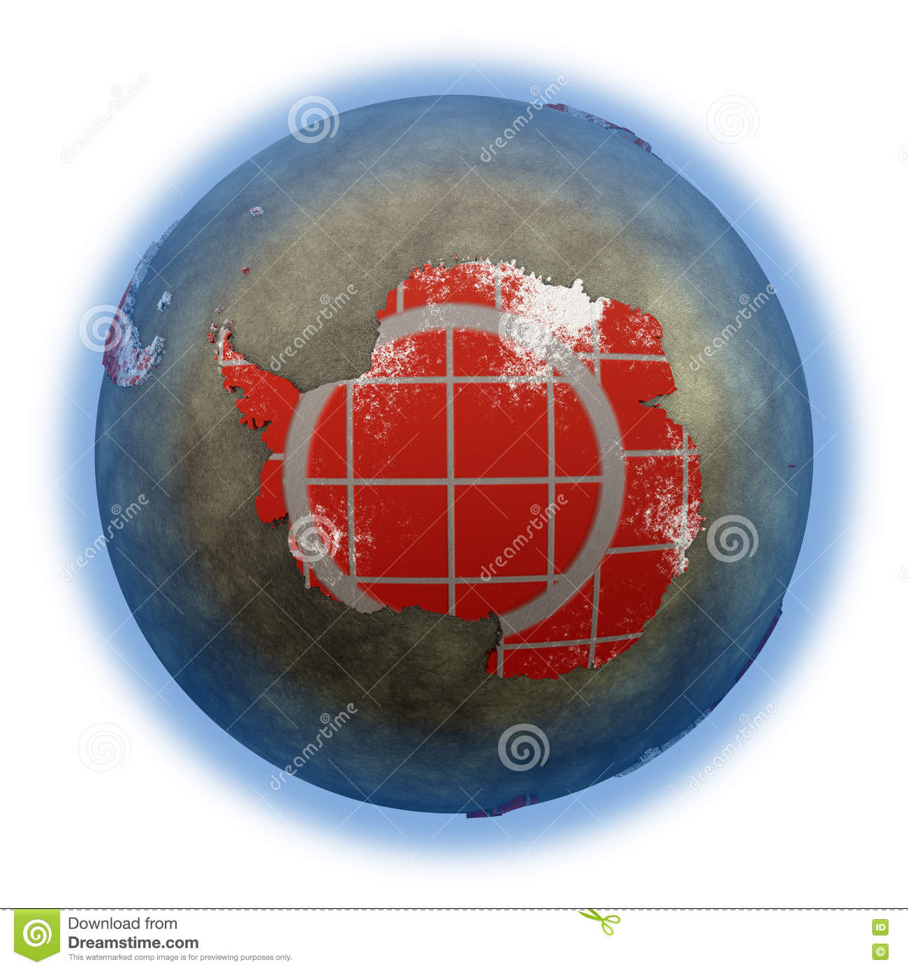 hight resolution of antarctica on brick wall model of planet earth with continents made of red bricks and oceans of wet concrete concept of global construction