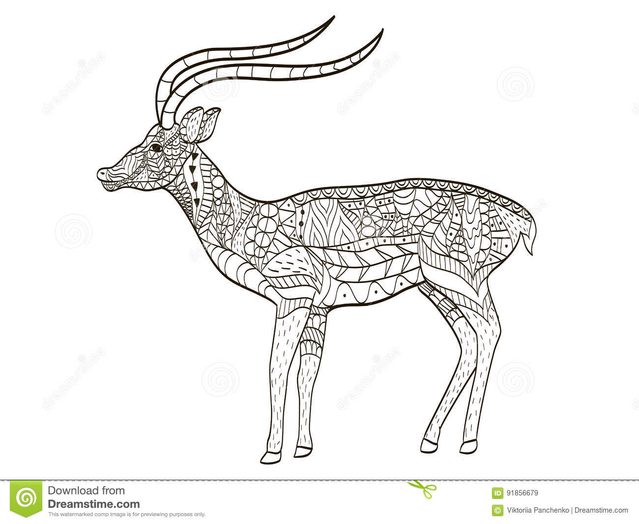 Antelope Coloring Vector For Adults Stock Vector