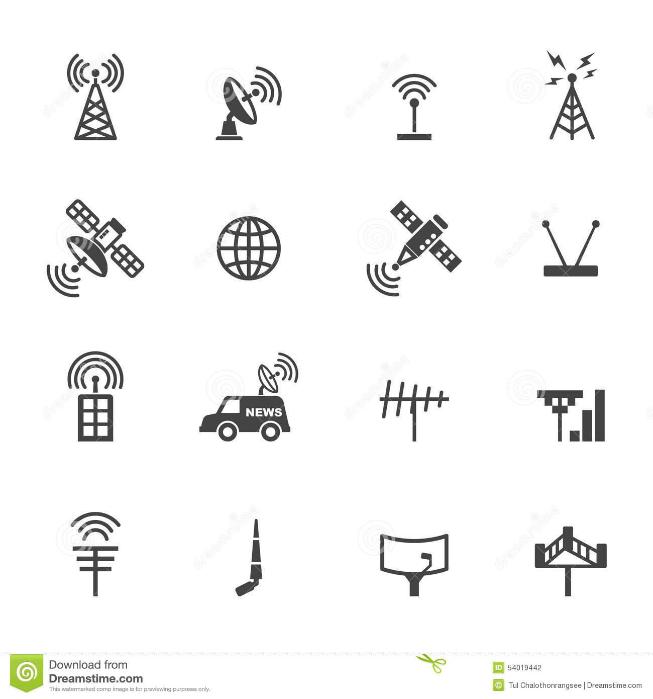 Antenna And Satellite Icons Stock Vector