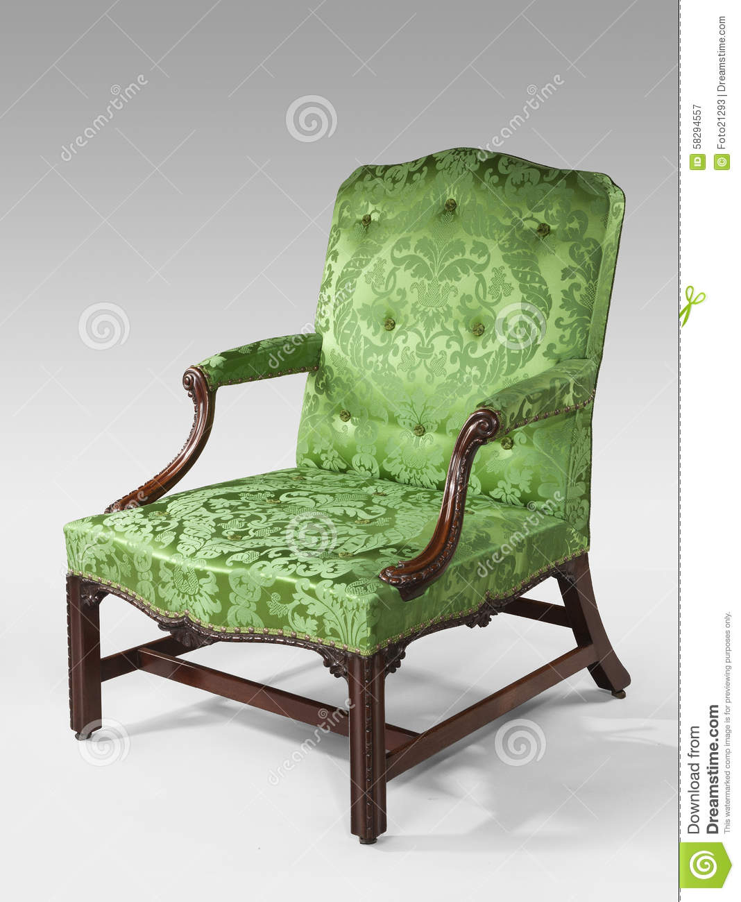Green Upholstered Chair Antique Arm Chair Light Green Upholstery On Light Background Stock