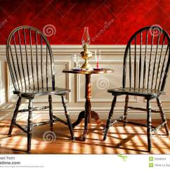 Antique Windsor Chairs Rocking Chair Gliders Black In Old Historic Home Stock Photo - Image: 22236554