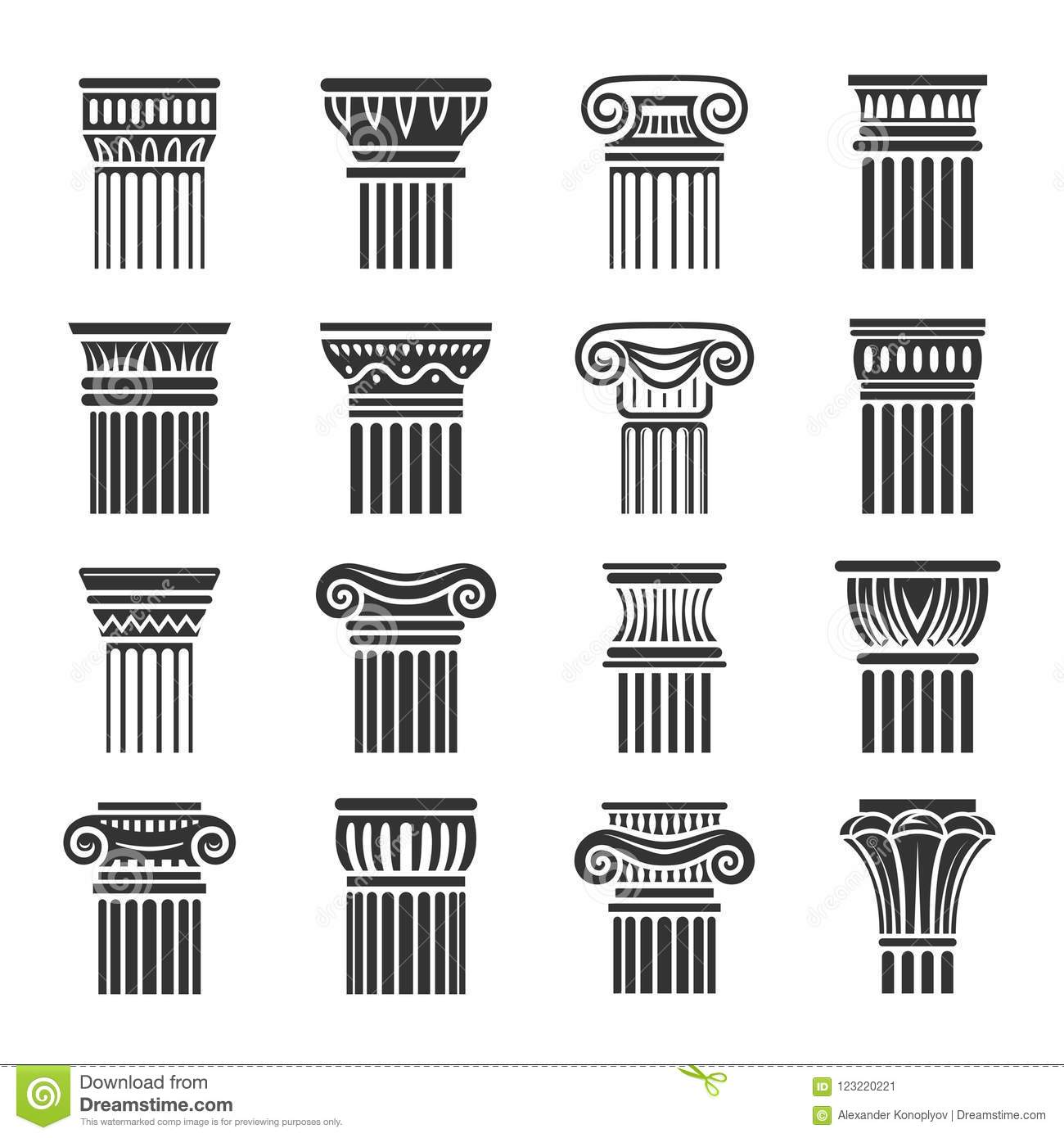 Antique Columns In Greek And Roman Style Stock Vector