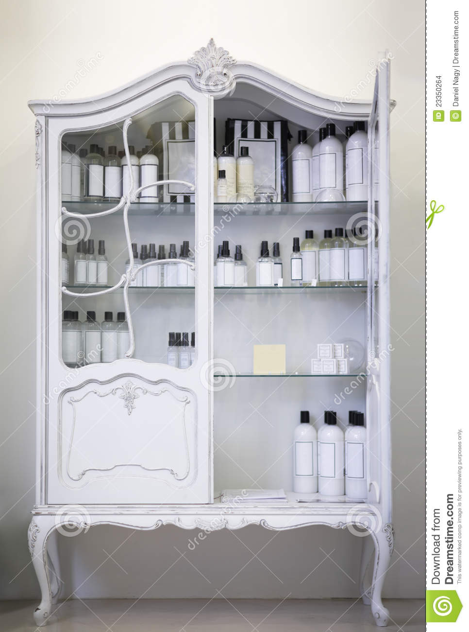 Antique Cupboard Open Door Medical Bottles Stock Images