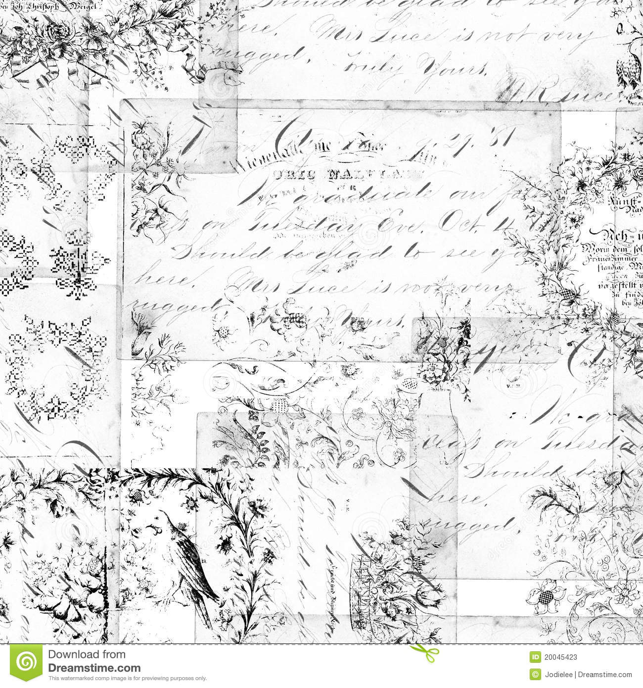 Antique Floral Montage Or Collage Background Stock Image