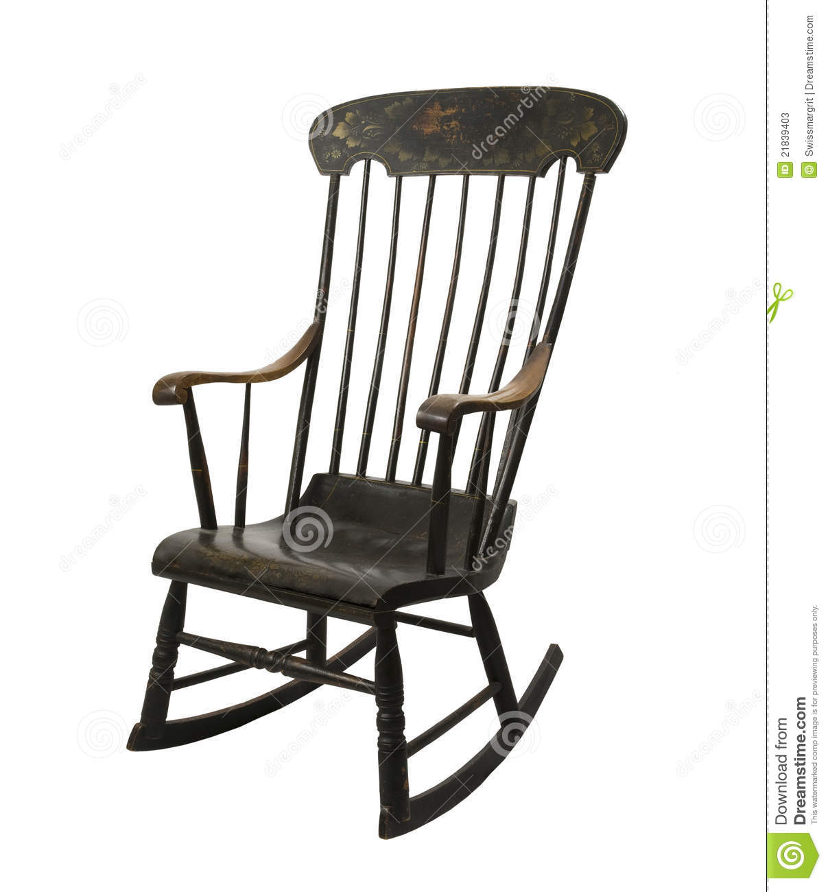 swing chair drawing royal chairs for rent antique handmade rocking stock image 21839403