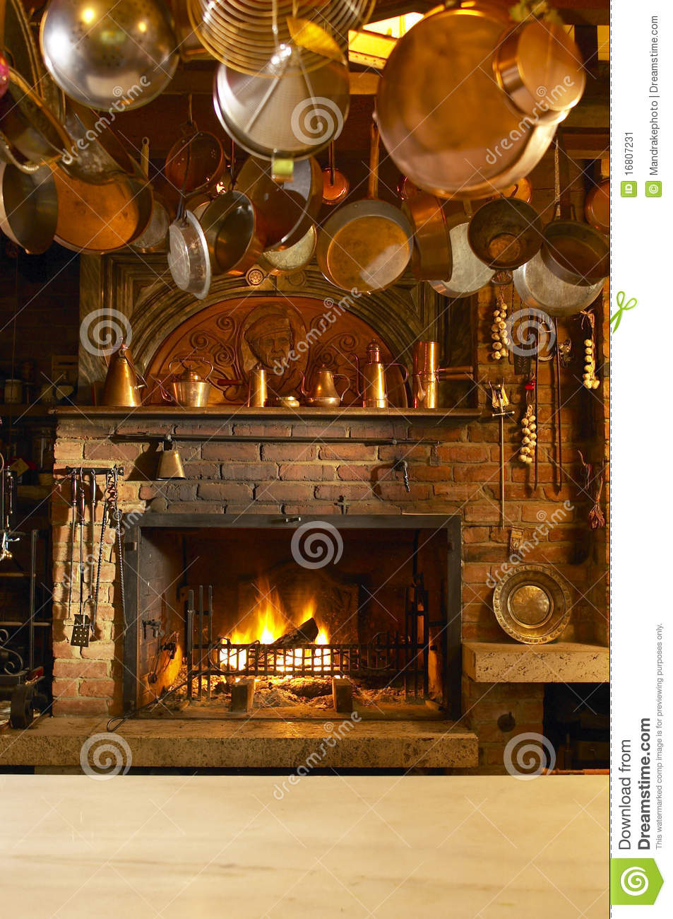 Antique Kitchen With Fireplace Stock Image  Image 16807231