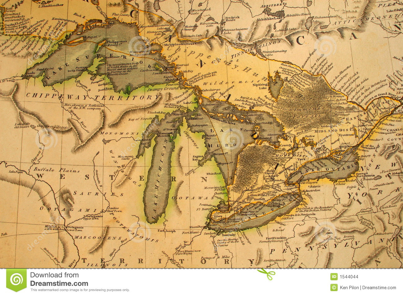 Antique Map Of The Great Lakes Stock Photo