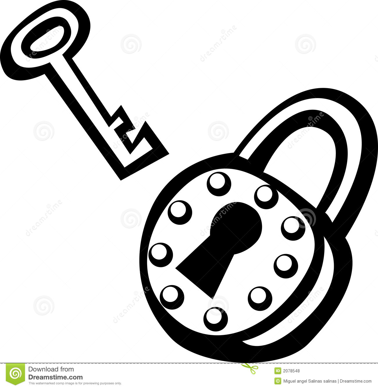 Antique Padlock And Key Vector Illustration Stock Vector