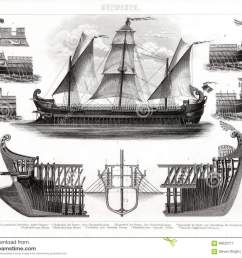 1874 antique print of ancient greek trireme warship [ 1300 x 1106 Pixel ]