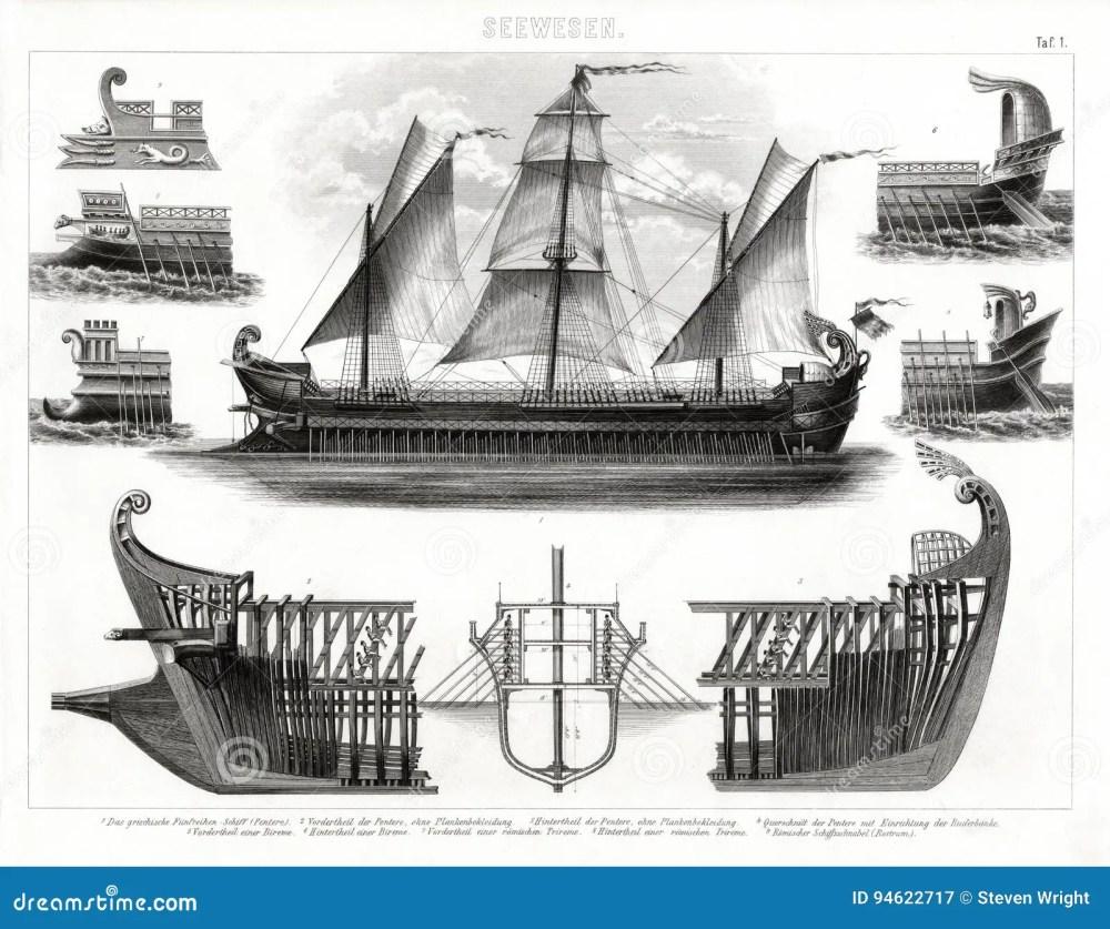 medium resolution of 1874 antique print of ancient greek trireme warship