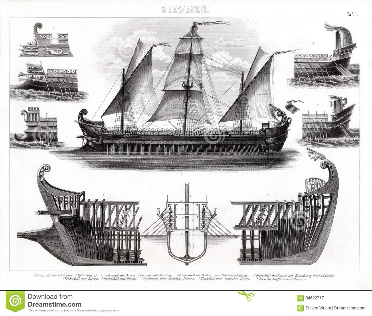 hight resolution of 1874 antique print of ancient greek trireme warship