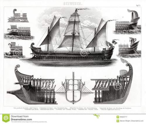 small resolution of 1874 antique print of ancient greek trireme warship