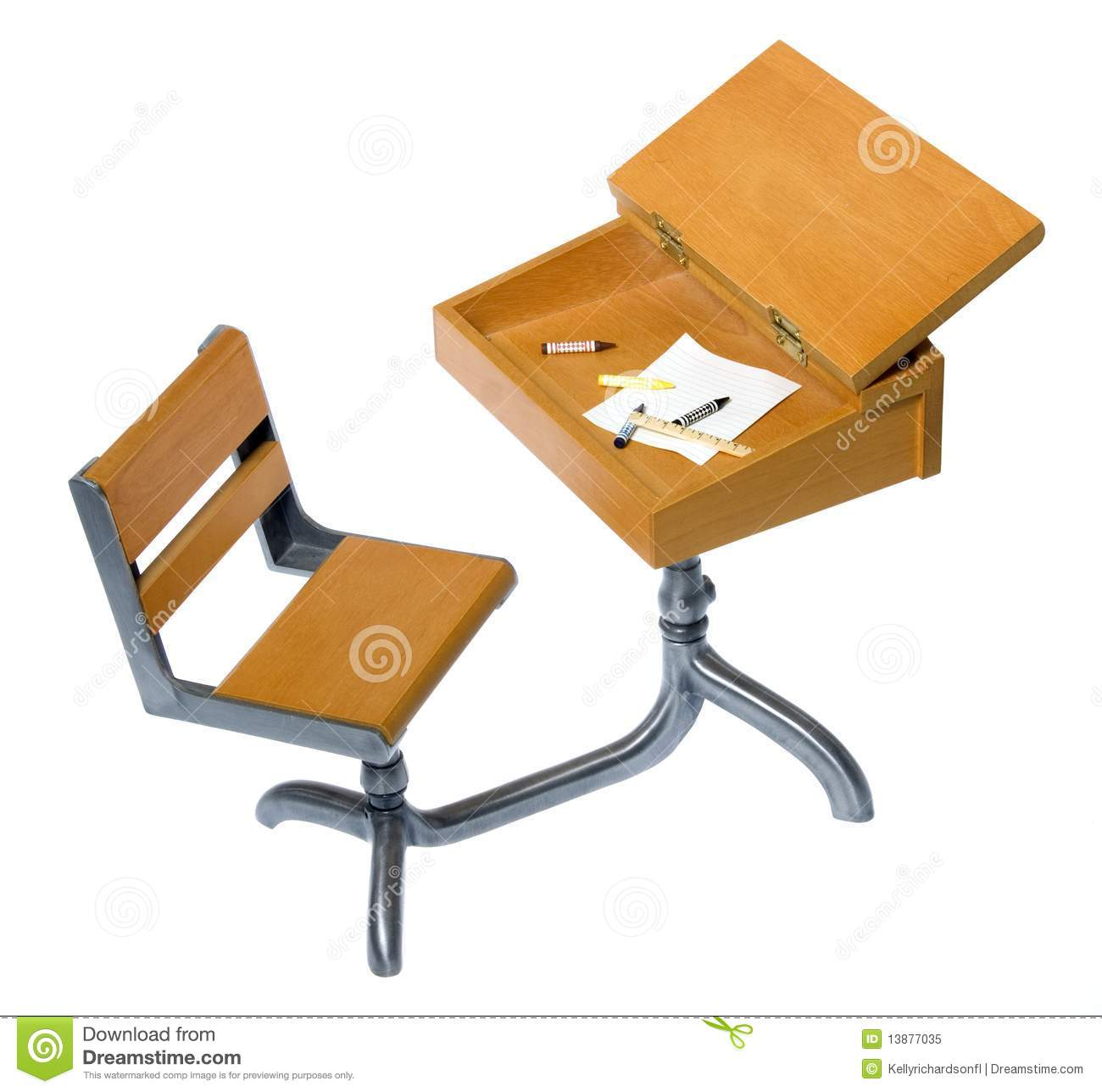 old wooden desk chair gray accent antique school with writing materials inside royalty free stock photo - image: 13877035