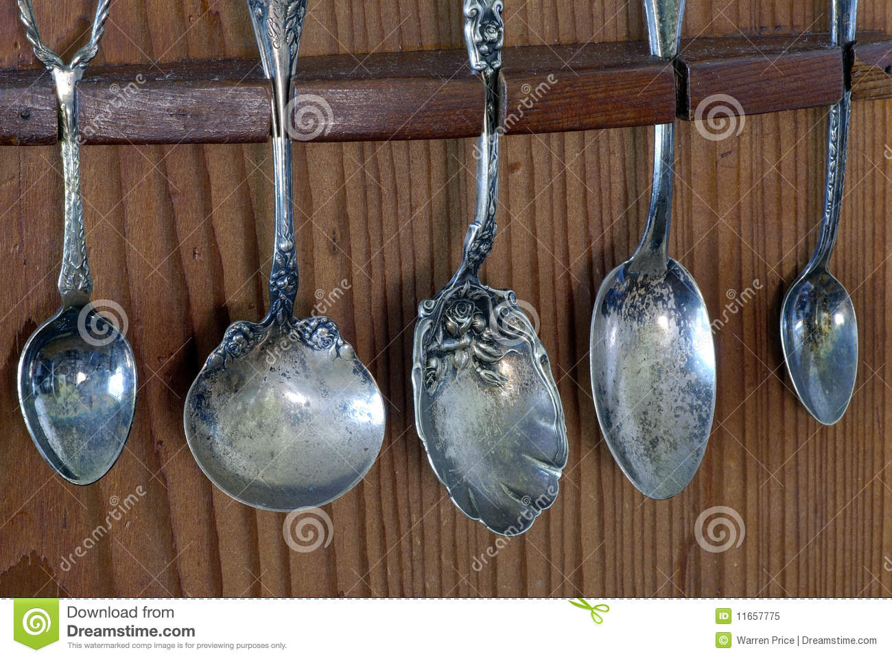 Antique Silver Spoon Collection Stock Image Image Of