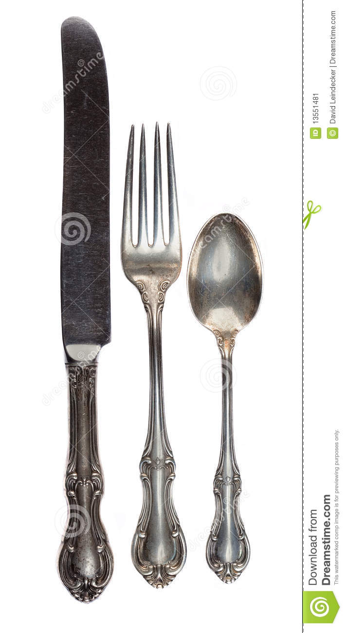 kitchen fork used sinks for sale antique silverware stock image - image: 13551481