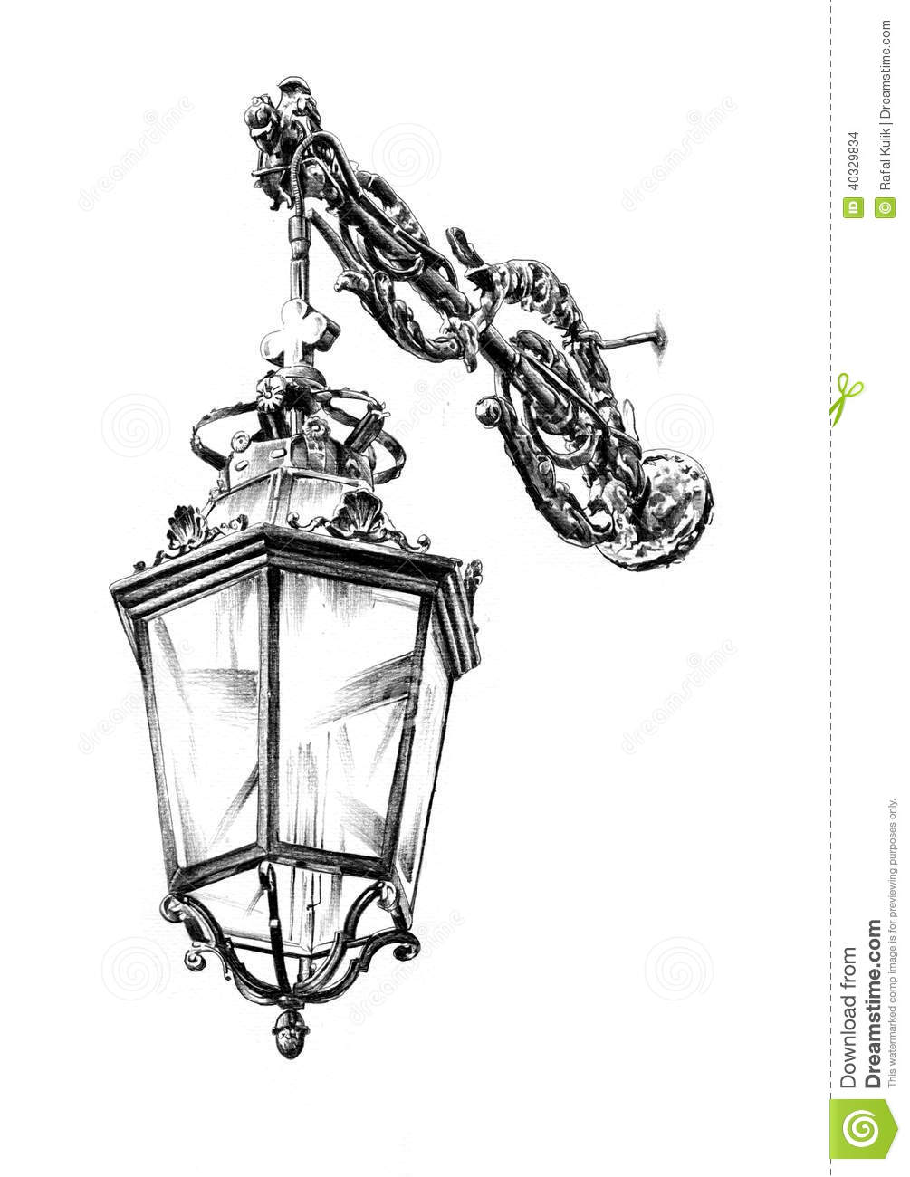Antique Street Lantern Drawing Handmade Stock Illustration Illustration Of Iron Drawing 40329834