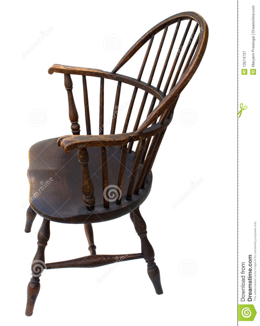 antique windsor chair identification swing side view isolated stock image