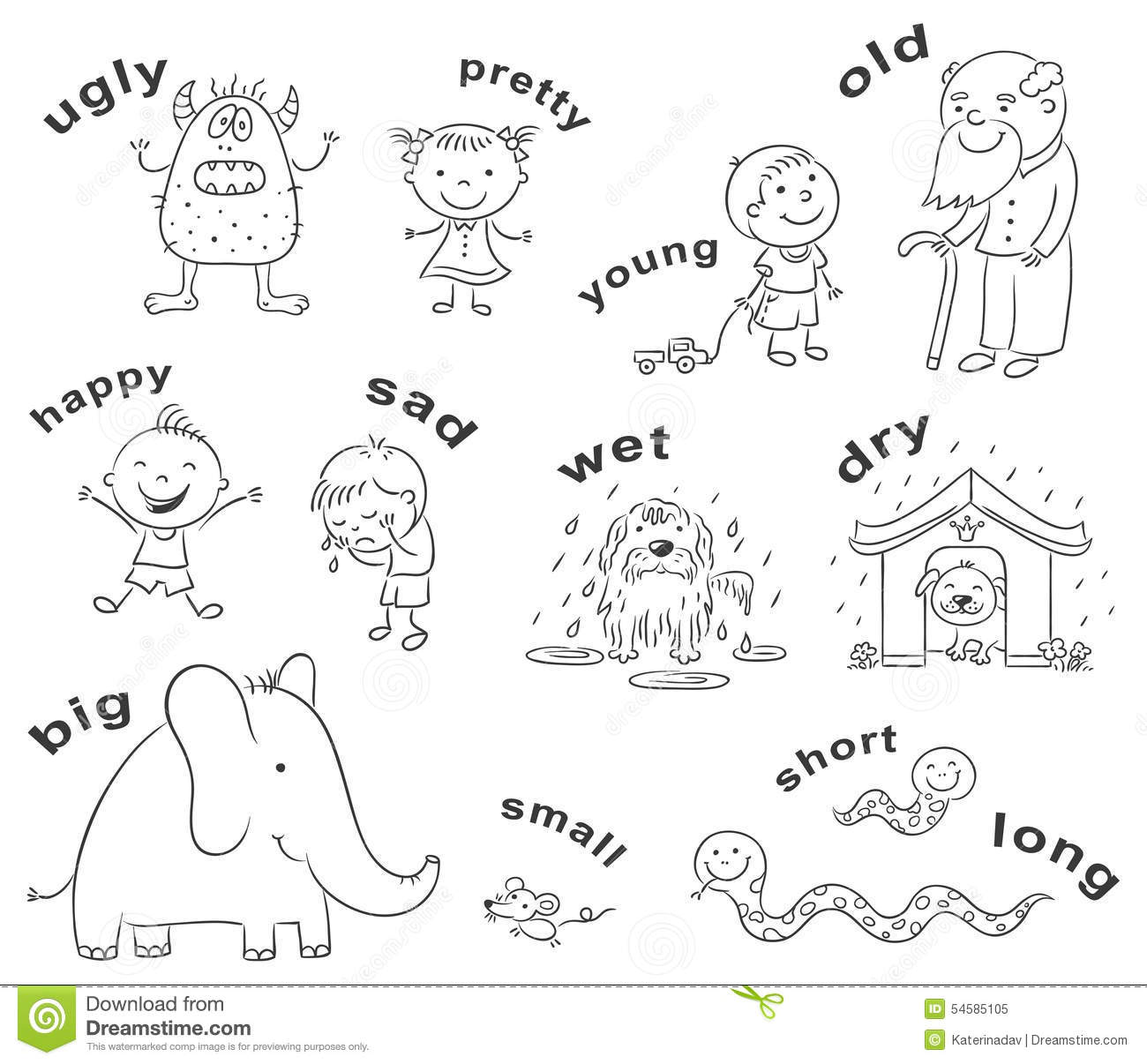 Antonyms Cartoons, Black And White Stock Vector