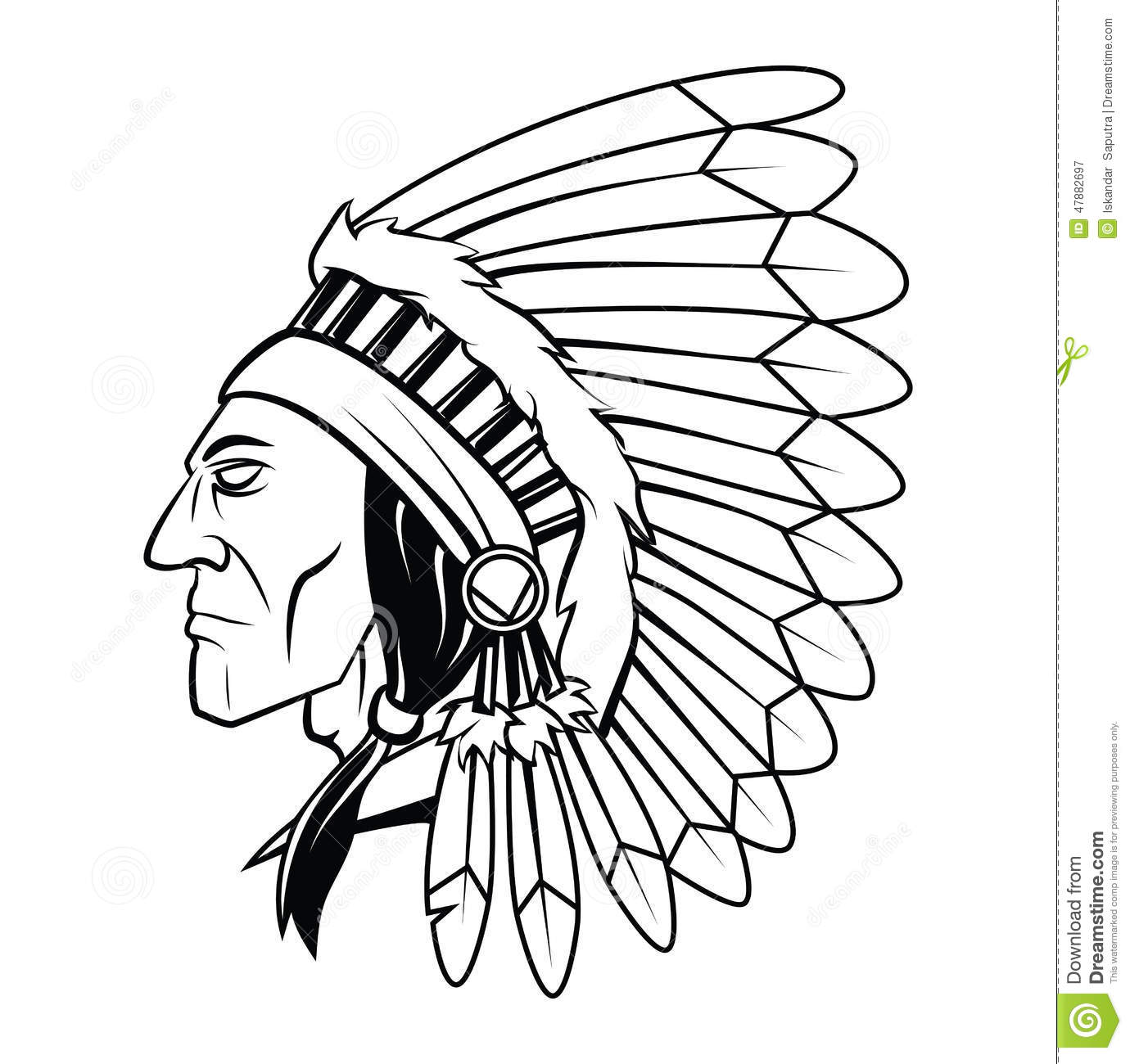 Apache Head Vector Illustration Stock Vector