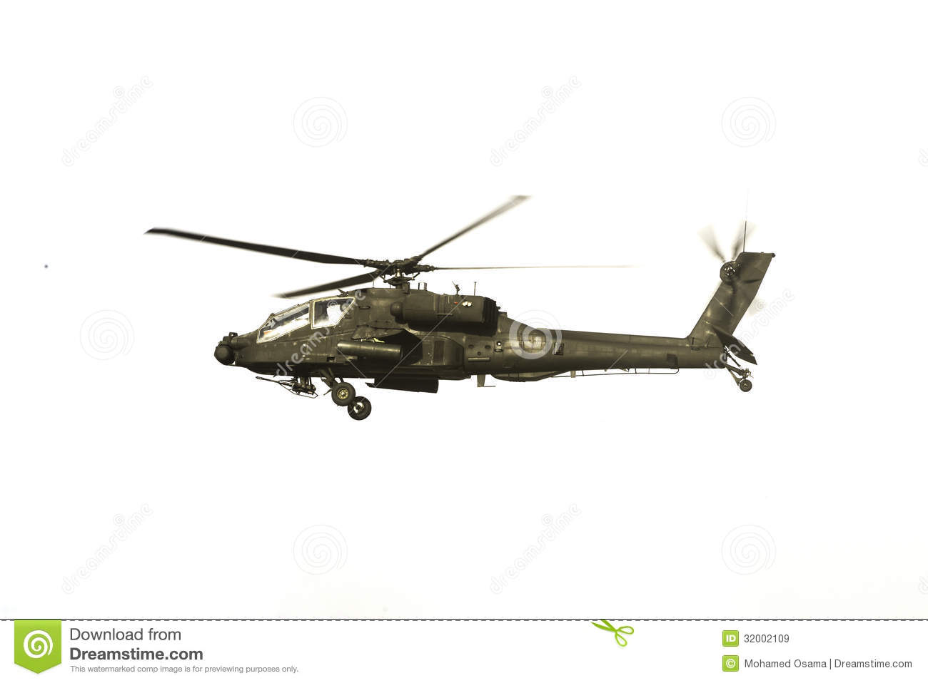 hight resolution of apache helicopter over white