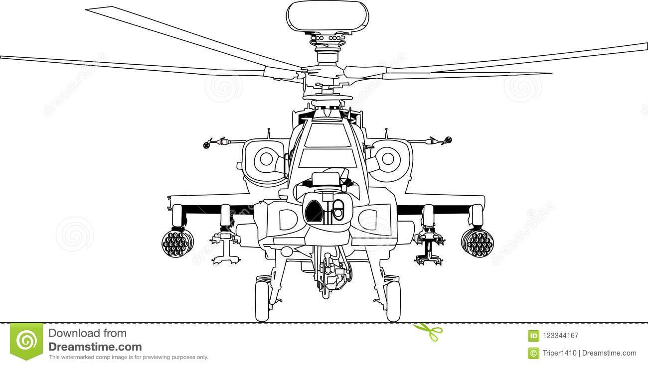 hight resolution of apache war machine vector outline black white line art helicopter