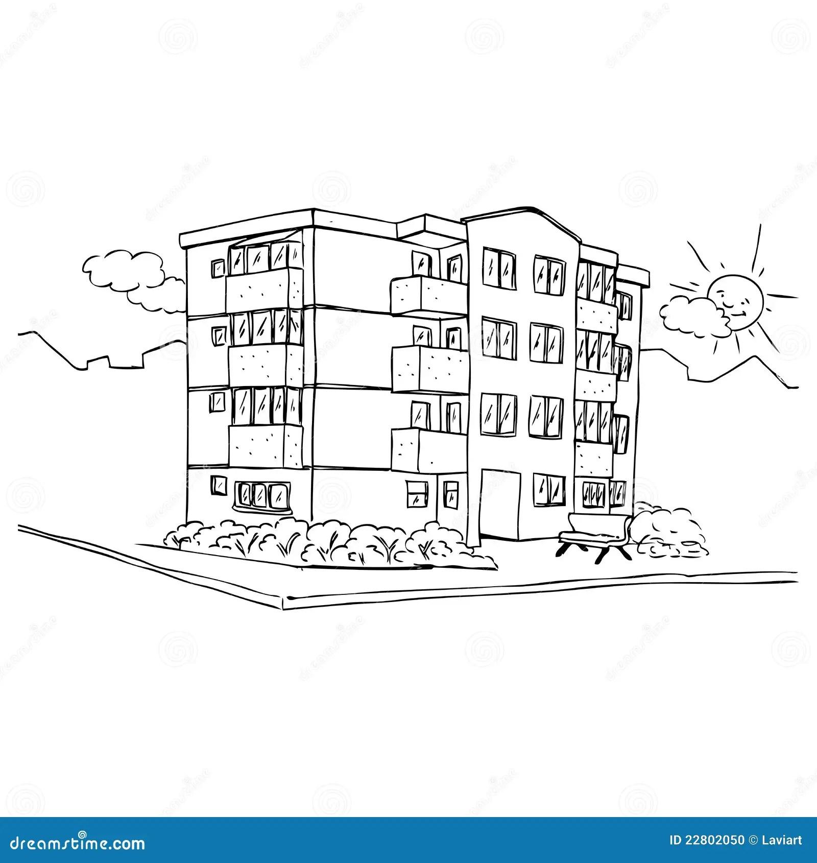 Apartment building stock illustration. Image of street