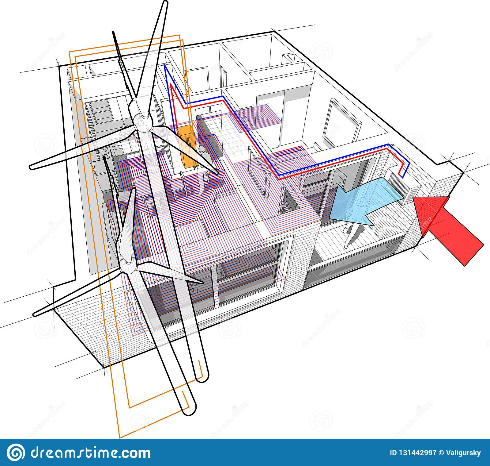hight resolution of apartment diagram with floor heating and heat pump and connected to the wind turbines