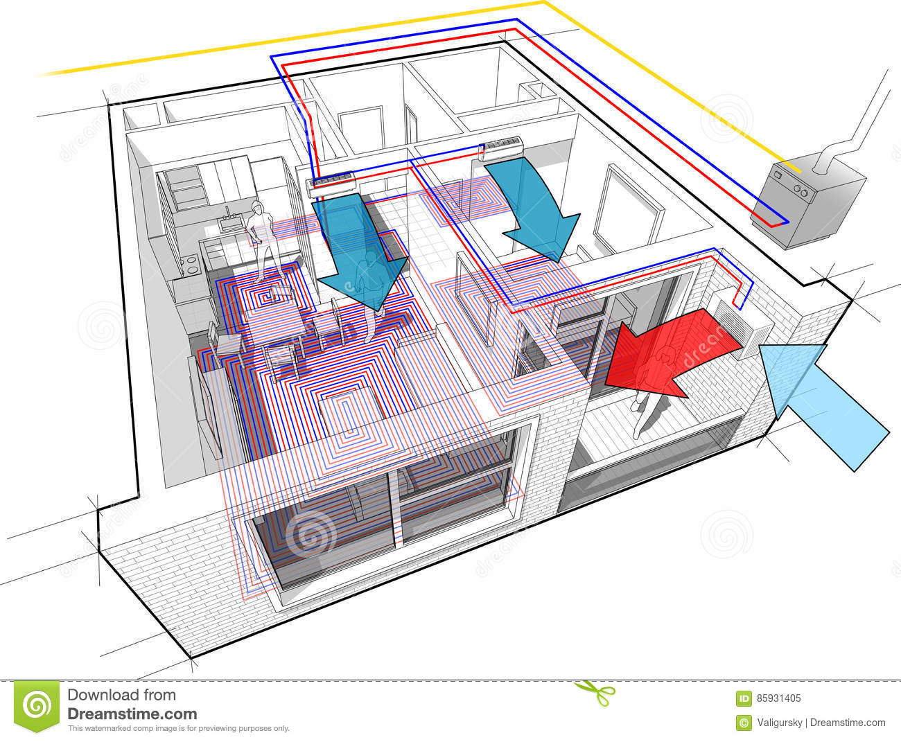 hight resolution of apartment diagram with underfloor heating and gas water boiler and air conditioning