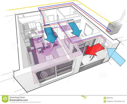 small resolution of apartment diagram with underfloor heating and gas water boiler and air conditioning