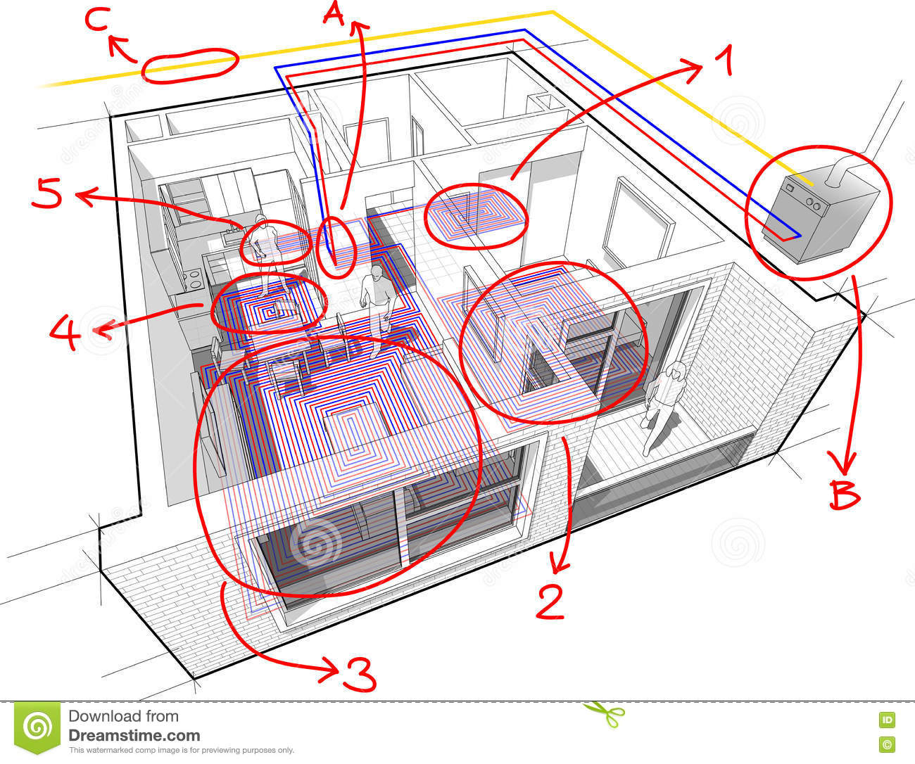 hight resolution of apartment diagram with underfloor heating and gas water boiler and hand drawn notes