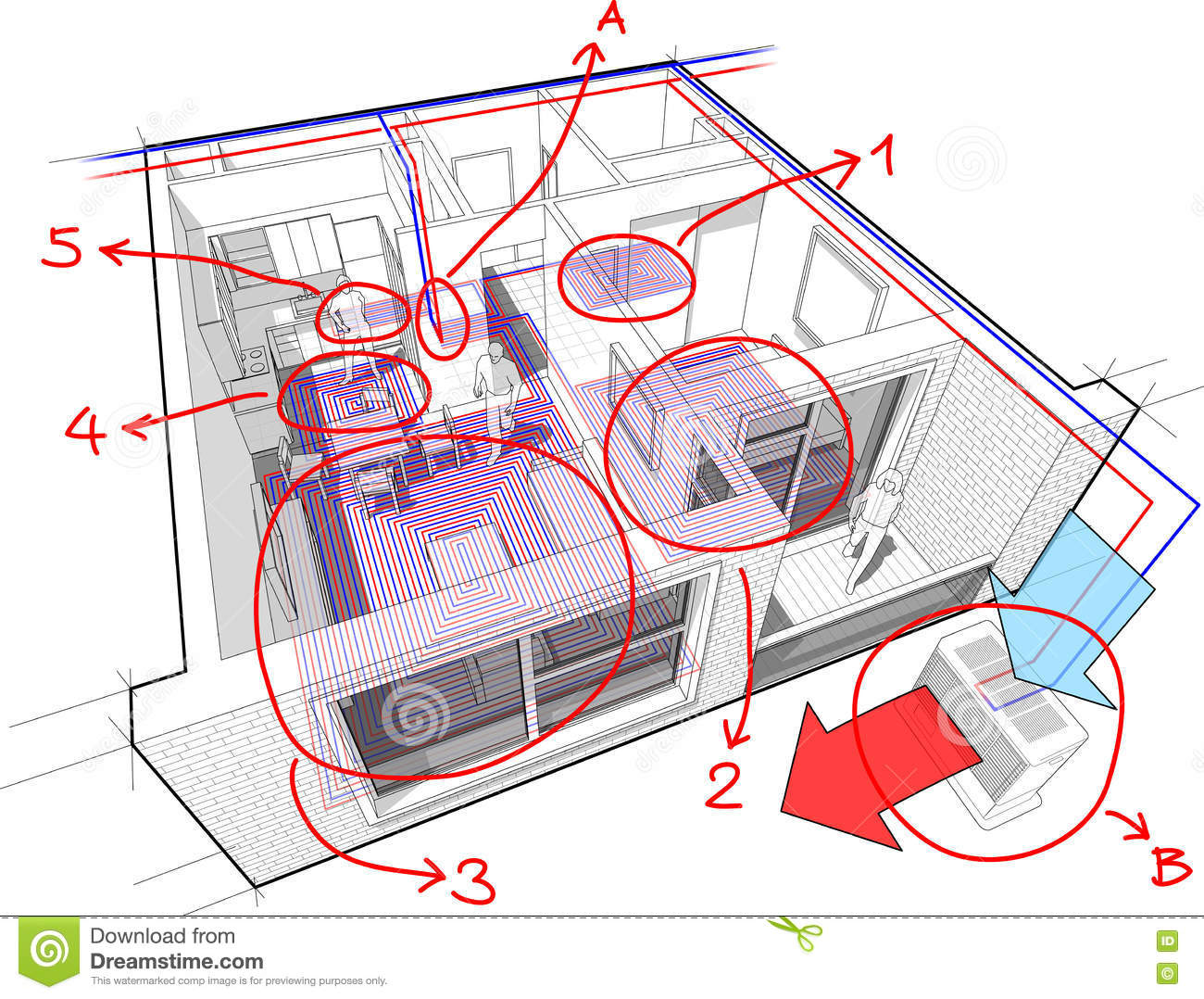 hight resolution of apartment diagram with underfloor heating and heat pump and hand drawn notes