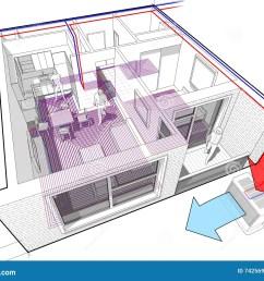 apartment diagram with underfloor heating and heat pump [ 1300 x 1030 Pixel ]